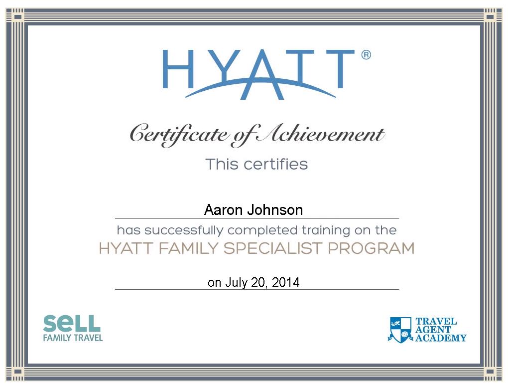 Hyatt Travel Agent Program